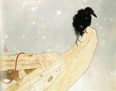 Интуиция. Ворон на корме лодки смотрит вперед.