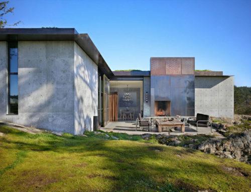 Пьер — монолитный частный дом с зеленой плоской крышей