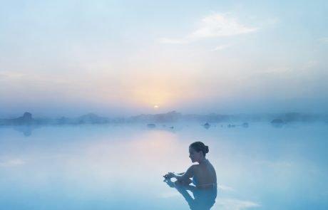 Отдых в Исландии, Голубая лагуна, заход солнца
