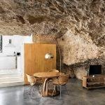 Современный дом в пещере, кухня и столовая