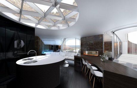 Экодом в форме цветка, кухня-столовая