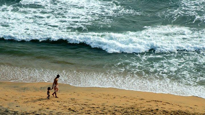 Отдых в Индии на курорте Керала, волна накатывает на пляж