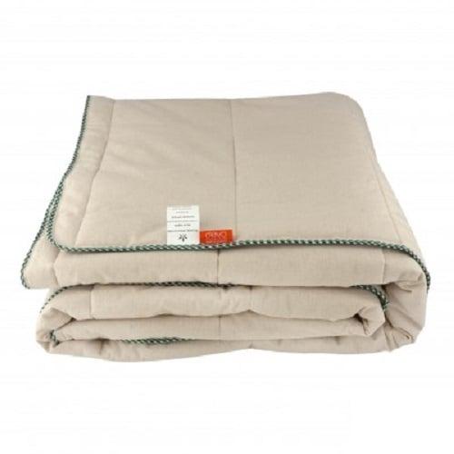 Стеганое одеяло из конопли с зеленым кантом