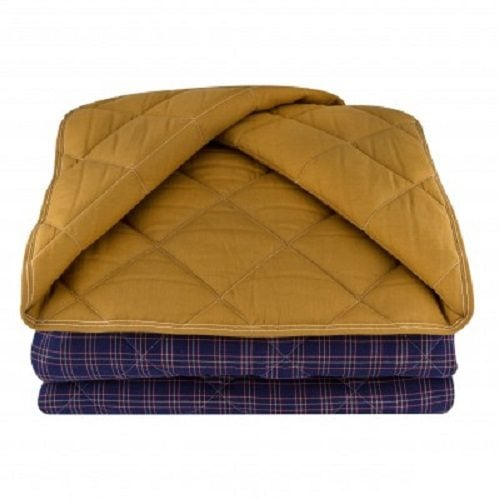 Стеганое одеяло из конопли синее
