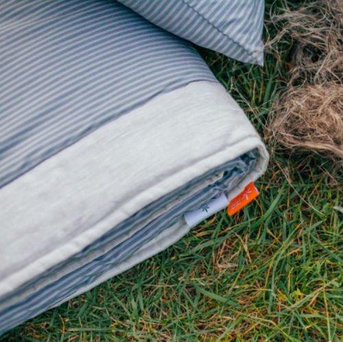 Стеганое одеяло-покрывало (синий лен)