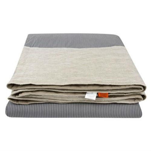 Стеганое одеяло-покрывало из конопли, лен в серую полоску