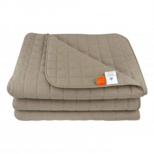 Стеганое одеяло-покрывало из конопли, бежевое