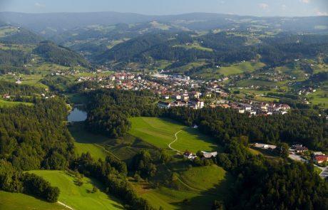 Город Зрече с высоты птичьего полета, Словения