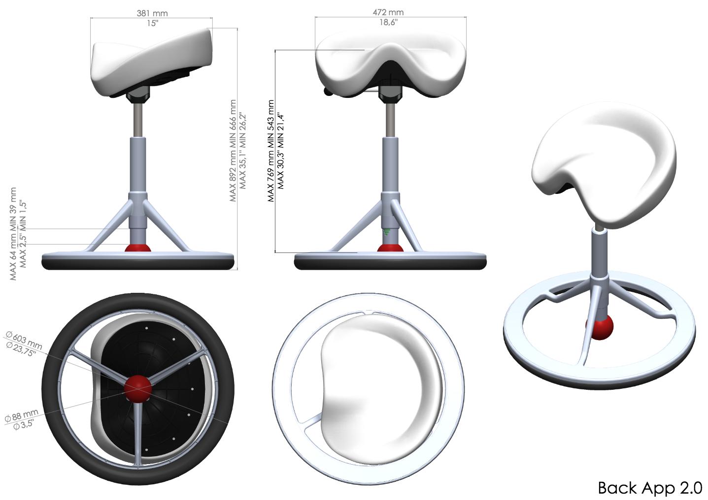 Размеры офисного стула Back App 2.0