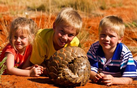 Tswalu Kalahari, дети и муравьед