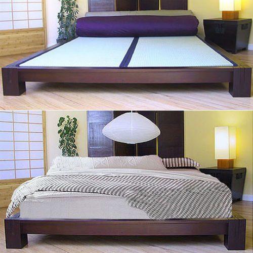 КроватьTatami, низкая платформа, темный орех
