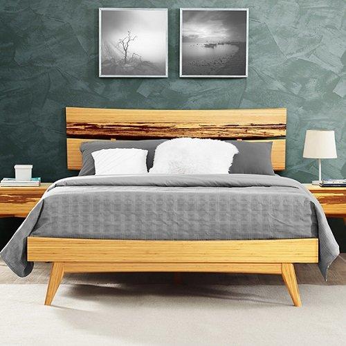 Двуспальная кровать из бамбука Azara, карамельный цвет