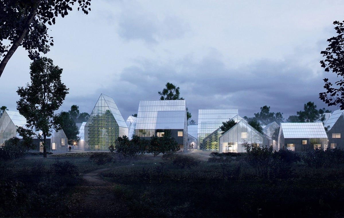 Зеленое строительство: экологическое поселение вечером