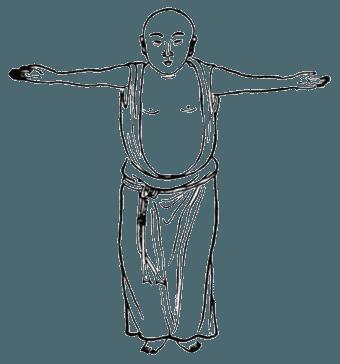 Китайская гимнастика цигун, ицзиньцзин, Вэйто держит посох горизонтально