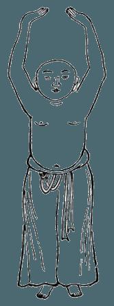 Китайская гимнастика цигун, ицзиньцзин, Вэйто поднимает посох над головой