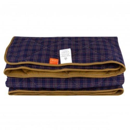 Демисезонное стеганое одеяло из конопли, темно-синее в клетку
