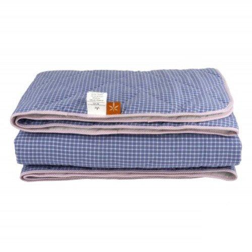 Демисезонное стеганое одеяло из конопли, светло-синее в клетку