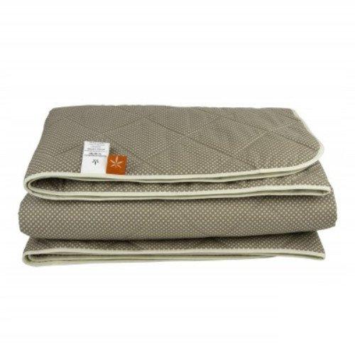 Демисезонное стеганое одеяло из конопли, зеленое в горошек
